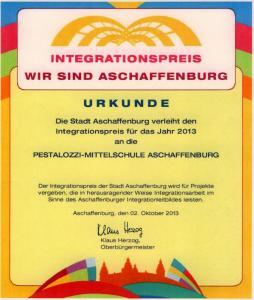 Integrationspreis wir sind Aschaffenburg Urkunde